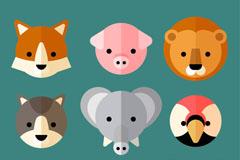 9款扁平化可爱小动物头像矢量素材