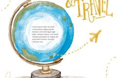 彩绘地球仪旅行插画矢量素材