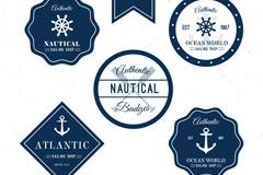 6款深蓝色创意航海徽章矢量素材