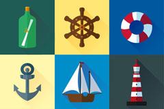 9款卡通航海元素图标矢量素材