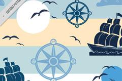 彩绘海上大帆船和指南针矢量素材
