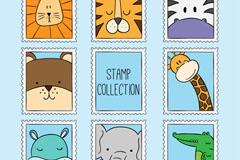 8款卡通动物邮票矢量素材