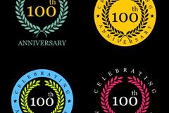 4款彩色100周年纪念徽章矢量图