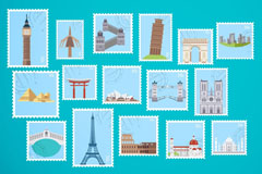 16张世界旅行地标建筑邮票矢量素