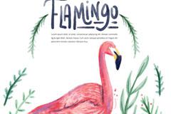 水彩绘粉色火烈鸟矢量素材