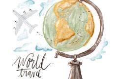 水彩绘环球旅行地球仪和飞机矢量