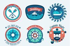 9款蓝色航海元素徽章矢量素材