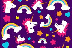 卡通独角兽头像和彩虹无缝背景矢