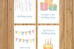 4款彩绘生日派对邀请卡片矢量图
