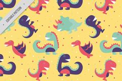 5种卡通恐龙无缝背景矢量素材