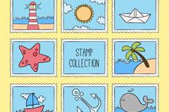 8款彩绘航海元素邮票矢量素材