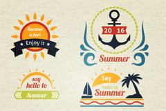 6款彩色复古夏季度假标签矢量图