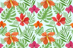 橙色扶桑花和叶子无缝背景矢量素