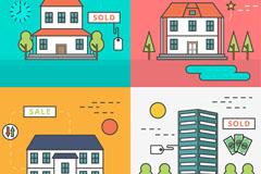 4款创意房屋销售与出租插画矢量