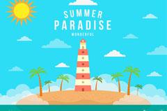 夏季度假天堂灯塔和椰子树插画矢
