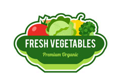 绿色新鲜蔬菜标签矢量素材