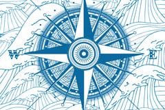 彩绘复古指南针和与海浪矢量素材