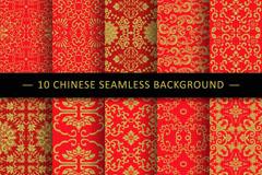 10款红色中国风花纹无缝背景矢量