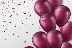 紫色气球束和彩色纸屑矢量图