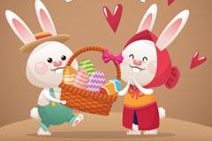 两只可爱卡通复活节兔子矢量素材