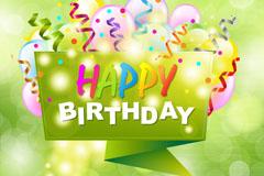 绿色生日快乐标签和气球矢量素材