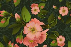 质感粉色桃花无缝背景矢量素材