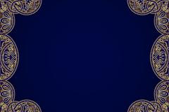 金色花纹边框深蓝背景矢量图