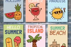 6款彩绘夏季度假卡片矢量素材