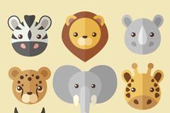 9款创意扁平化野生动物头像矢量图