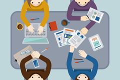 创意商务会议人物俯视图矢量素材