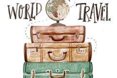 彩绘环球旅行行李箱和地球仪矢量