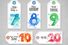 7款水彩绘生日数字吊牌矢量图