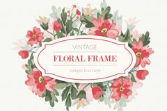复古红色花卉框架矢量素材