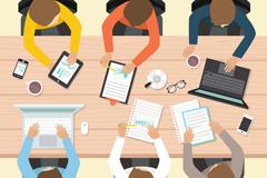 商务办公会议6个人物俯视图矢量