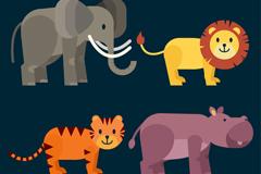 大象狮子老虎河马4种野生动物矢量素材
