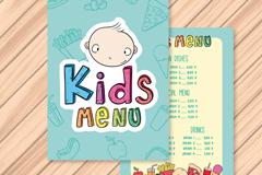 创意儿童菜单正反面矢量素材