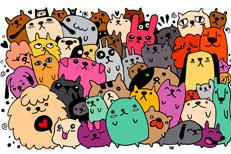 一群卡通猫狗和兔子矢量素材