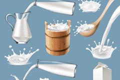 6款盛牛奶的容器和3款飞溅的牛奶