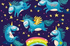5只卡通童话独角兽矢量素材
