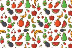 彩色蔬菜水果无缝背景矢量素材