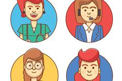 4款职业女性头像矢量素材