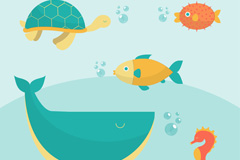5种创意海洋动物设计矢量素材