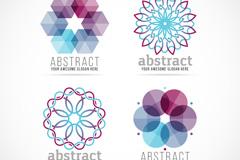 4款抽象花形商务标志矢量素材