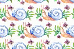 水彩绘蜗牛无缝背景矢量素材