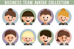 12款可爱微笑商务团队人物头像矢