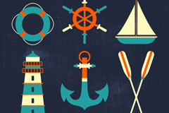 7款彩色航海元素设计矢量素材