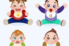 4个卡通婴儿设计矢量素材