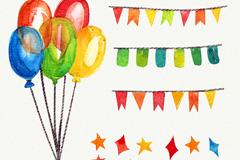5款彩色派对装饰物矢量素材