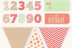 彩色生日数字和贴纸矢量素材