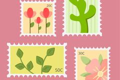 4款创意植物邮票矢量素材